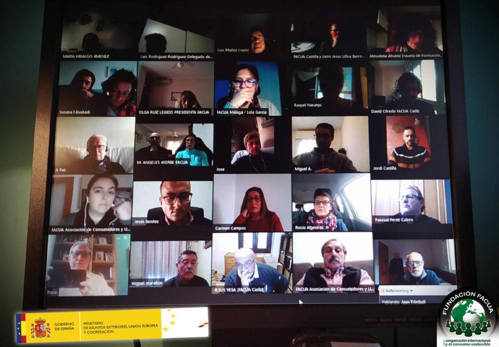 Momento de la jornada online de la Fundación FACUA.